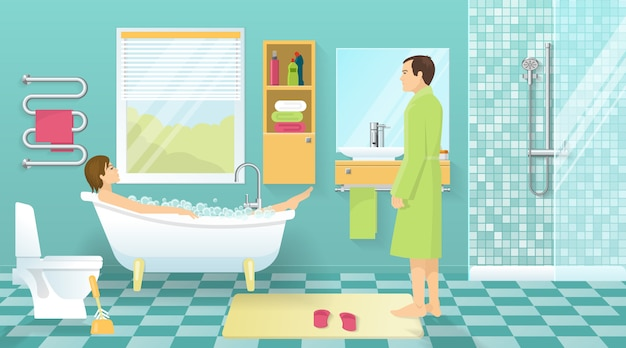 Mensen bij badkamerontwerp