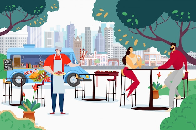 Mensen bij bbq vrachtwagenkoffie, illustratie. koppelkarakter aan hoge tafel wacht op bestelling, kook met kebab en gebakken vlees.