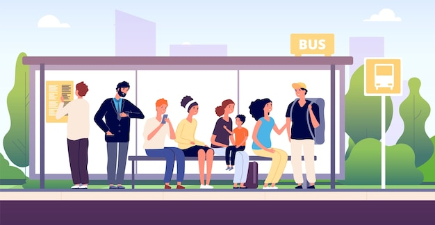 Mensen bij bushalte. stadsgemeenschapsvervoer, passagiers die wachten op de bussen die samen staan, stedelijk openbaar verkeer cartoon