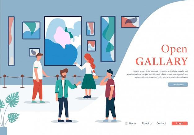 Mensen bij contemporary art gallery open banner