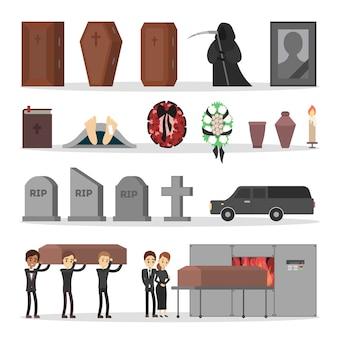 Mensen bij de begrafenis set. kist begraven, het lichaam verbranden.