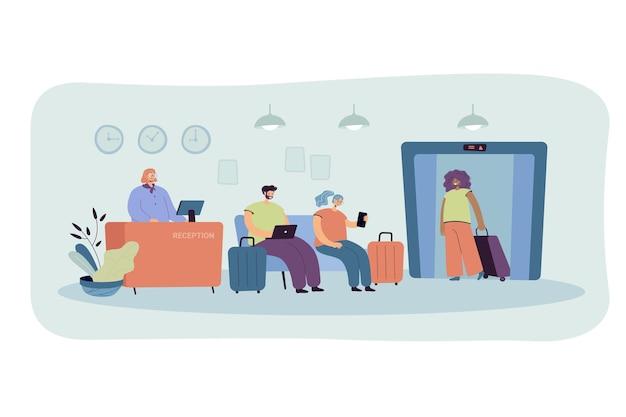 Mensen bij de hotelreceptie geïsoleerde vlakke afbeelding. cartoon afbeelding