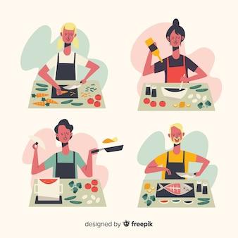 Mensen bij de keukencollectie