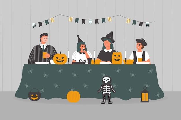 Mensen bij griezelig halloween-diner