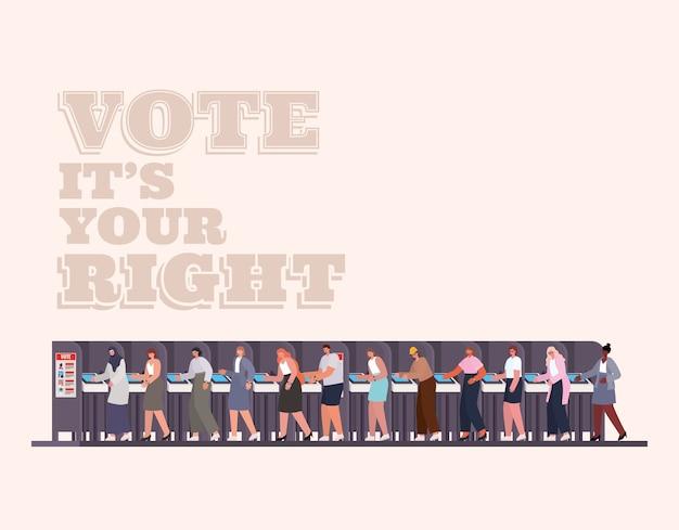 Mensen bij het stemhokje met stemmen, het is uw juiste tekstontwerp, het thema van de verkiezingsdag.