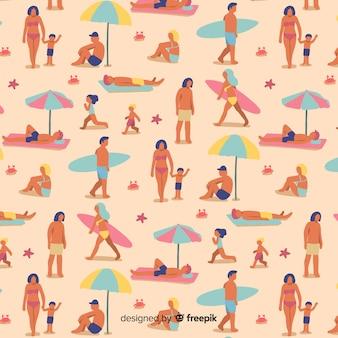 Mensen bij het strandpatroon