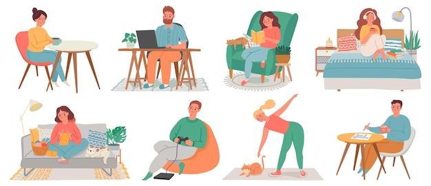 Mensen bij huizen. mannen en vrouwen ontspannen, werken, sporten en hobbyen in kamerinterieurs. quarantaine tekens, blijf thuis concept vector set. vrouw en man binnen appartement ontspannen illustratie