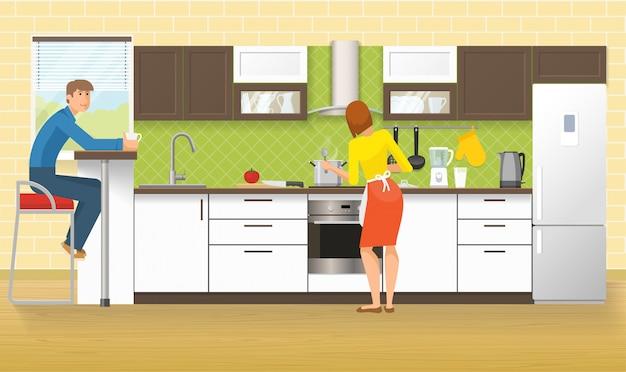 Mensen bij keukenontwerp
