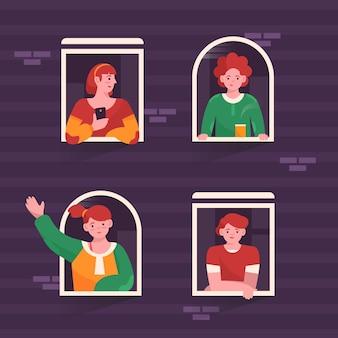 Mensen bij ramen die hun vrije tijd doorbrengen