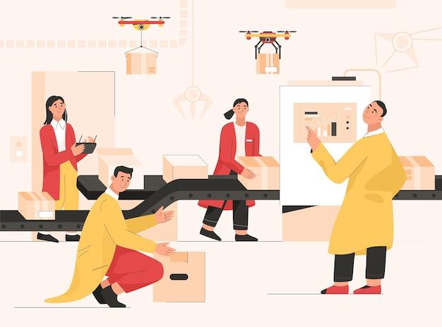 Mensen bij slimme fabriek met transportband. werknemers werken automatische productielijn van kartonnen dozen. ingenieur analyseert dataproces, bestuurt leveringspakketten van quadcopters. karakter illustratie