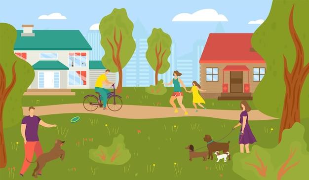 Mensen bij straathuis, vectorillustratie, man vrouw karakter lopen in de buurt van stadsgebouw, stedelijke architectuur en natuurlandschap.
