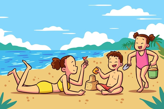 Mensen bij strandillustratie