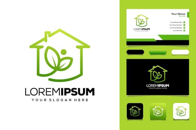 Mensen blad en huis logo sjabloon visitekaartje