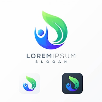 Mensen bladeren logo-ontwerp klaar voor gebruik