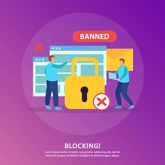 Mensen blokkeren van online chat platte ronde samenstelling met geel hangslot rood kruis verboden bord