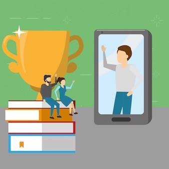 Mensen boeken mobiele trofee, vlakke stijl