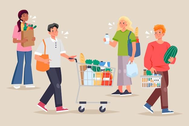 Mensen boodschappen boodschappen illustratie