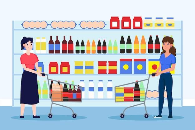 Mensen boodschappen doen in de supermarkt