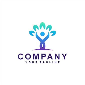 Mensen boom gradiënt logo ontwerp
