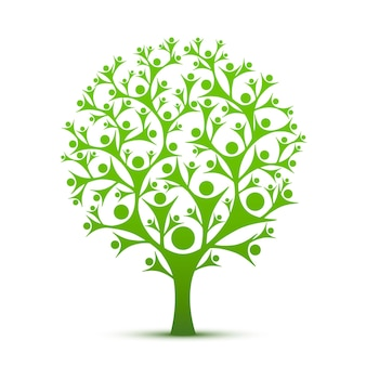 Mensen boom teken kleur groen op de witte achtergrond. vector illustratie