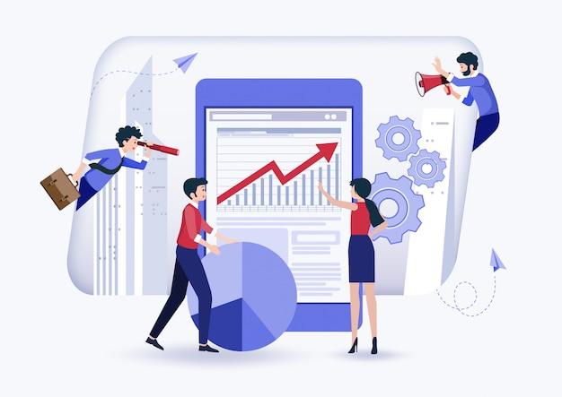 Mensen bouwen een bedrijf op internet