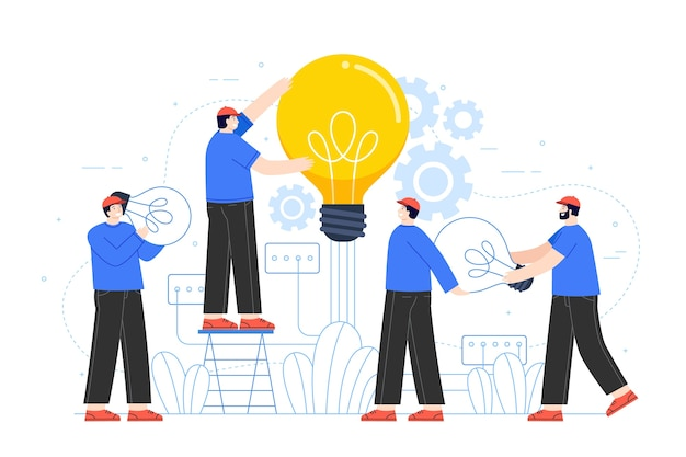Mensen bouwen ideeën concept