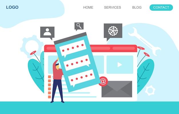 Mensen bouwen websiteontwerp webpagina projectontwikkeling illustratie