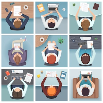 Mensen bovenaanzicht. zakelijke karakters bureau werkruimte mensen bovenaanzicht ontmoeten