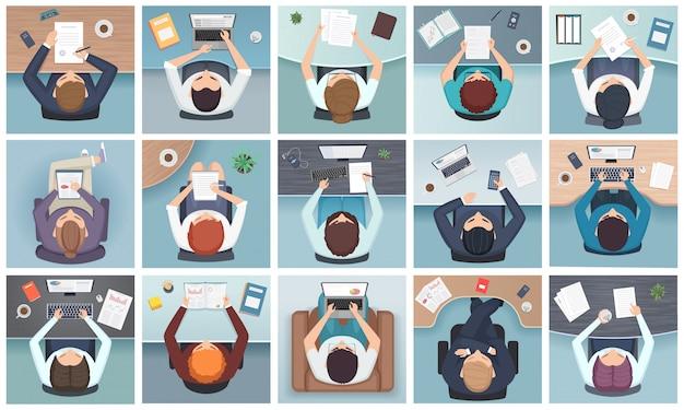 Mensen bovenaanzicht. zakelijke tekens zitten aan de tafel staande notities documenten kantoorbenodigdheden cartoon