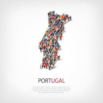 Mensen brengen land portugal in kaart