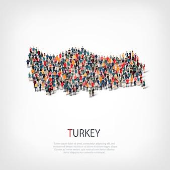 Mensen brengen land turkije in kaart