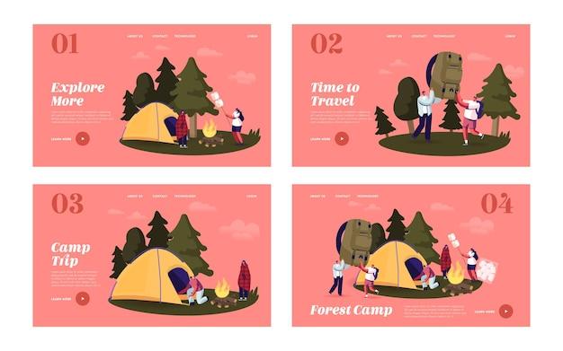 Mensen brengen tijd door in kamp in forest landing page template set. toeristische karakters zetten tent op, marshmallow frituren op kampvuur. vrienden wandelen met rugzak op vakantie. cartoon vectorillustratie