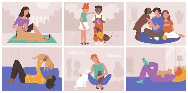 Mensen brengen tijd door met huisdieren die verliefd zijn en knuffelen hun eigen honden of katten die van huisdieren houden