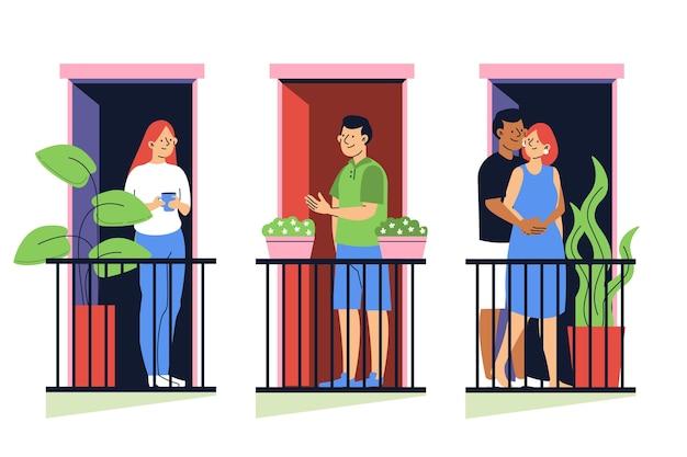Mensen brengen tijd door op hun balkon
