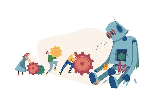 Mensen brengen versnellingen mee om een kapotte robot te repareren