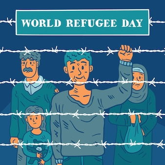 Mensen buiten het hek hand getekende vluchtelingendag