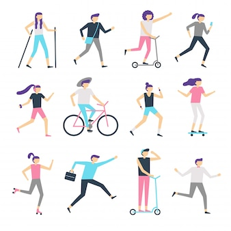 Mensen buitenactiviteit. gezonde gemeenschap, wandelende man en jogging vrouw. lopende tieners, schaatsen en fietsen kinderen vector set