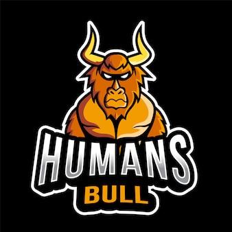 Mensen bull esport logo sjabloon