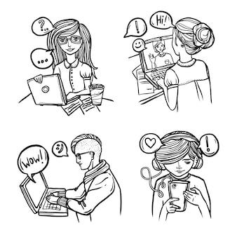 Mensen chatten met een schets