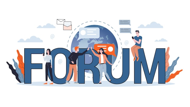 Mensen chatten op het forum op internet