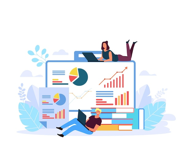 Mensen chracter analyseren bedrijfsresultaten illustratie