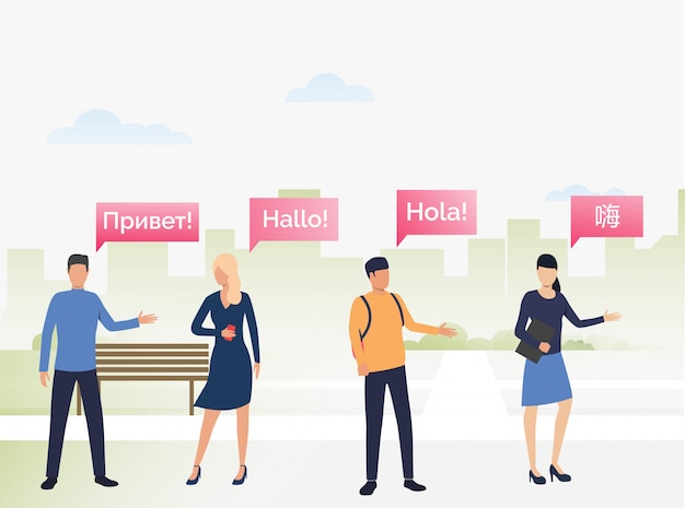 Mensen communiceren met elkaar in vreemde talen