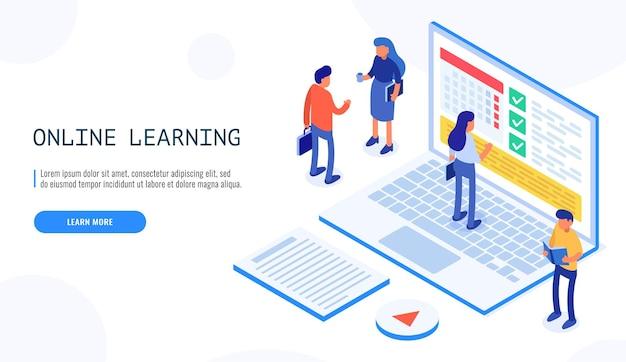 Mensen communiceren over educatieve onderwerpen, op het educatieve schema van schermlaptops. online onderwijs.