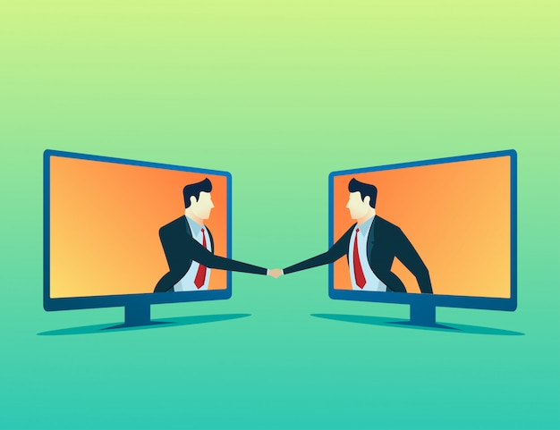 Mensen concept illustratie twee zakenman online deal