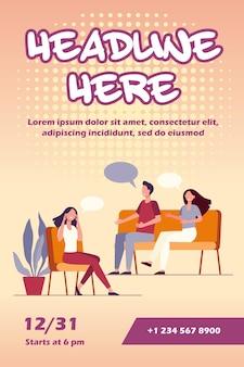 Mensen counseling met psycholoog flyer-sjabloon