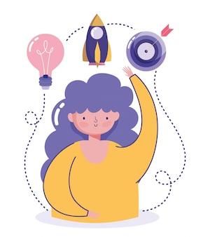 Mensen creativiteit technologie, meisje doel raket en idee ontwerp