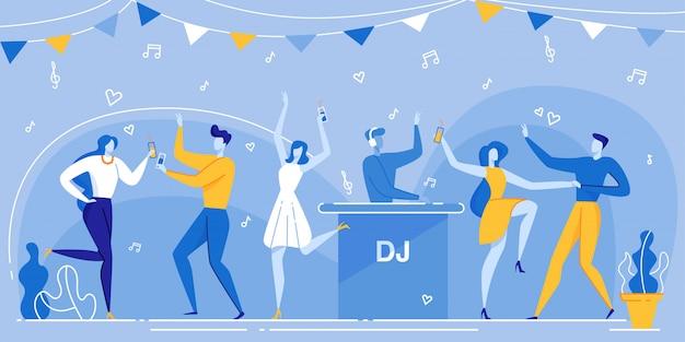 Mensen dans dancefloor dj mixing music nachtclub