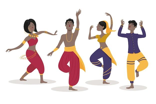 Mensen dansen bollywood-collectie