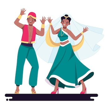 Mensen dansen bollywood illustratie