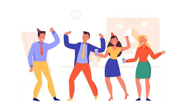 Mensen dansen en drinken op bedrijfsfeest in kantoor vlakke afbeelding